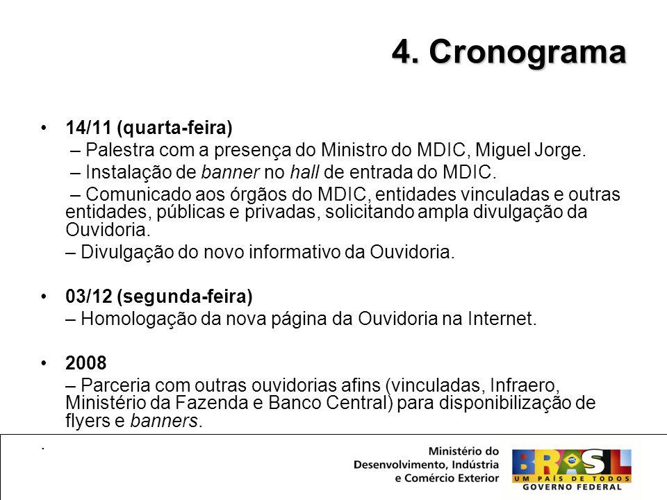 •14/11 (quarta-feira) – Palestra com a presença do Ministro do MDIC, Miguel Jorge. – Instalação de banner no hall de entrada do MDIC. – Comunicado aos