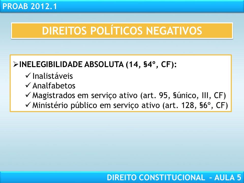 RESPONSABILIDADE CIVIL AULA 1 PROAB 2012.1 DIREITO CONSTITUCIONAL – AULA 5  IMPEDIMENTO PARCIAL da CIDADANIA (art. 14, §4º a 9º, CF):  INELEGIBILIDA