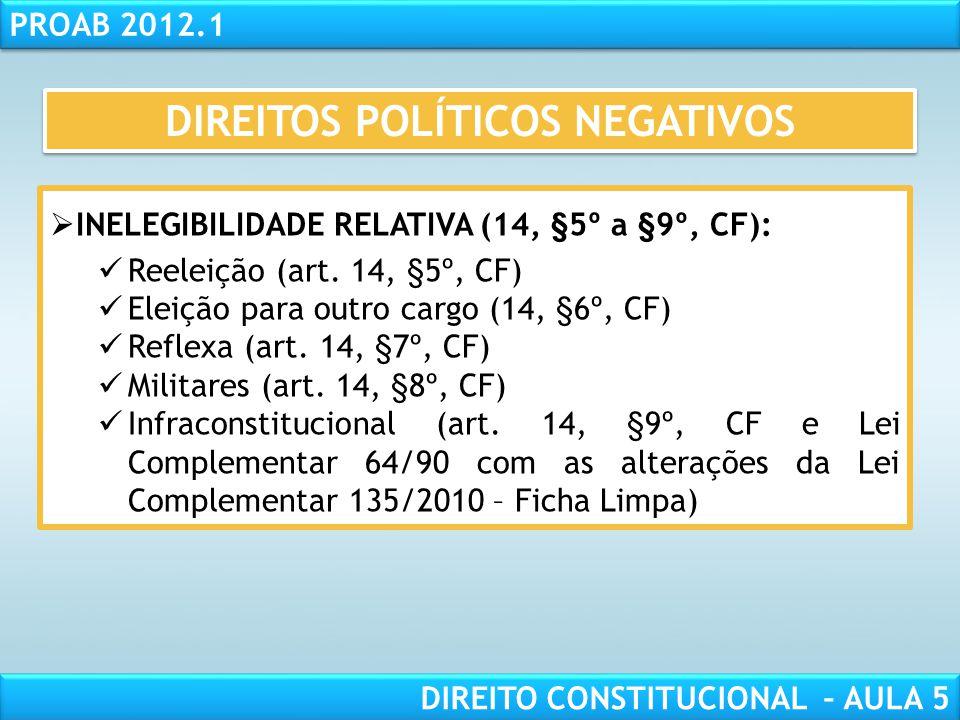 RESPONSABILIDADE CIVIL AULA 1 PROAB 2012.1 DIREITO CONSTITUCIONAL – AULA 5  INELEGIBILIDADE ABSOLUTA (14, §4º, CF):  Inalistáveis  Analfabetos  Ma