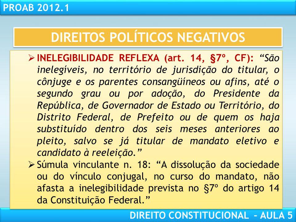 """RESPONSABILIDADE CIVIL AULA 1 PROAB 2012.1 DIREITO CONSTITUCIONAL – AULA 5  ELEIÇÃO PARA OUTRO CARGO (art. 14, §6º, CF): """"Para concorrerem a outros c"""