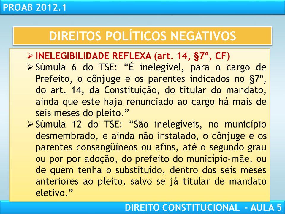 """RESPONSABILIDADE CIVIL AULA 1 PROAB 2012.1 DIREITO CONSTITUCIONAL – AULA 5  INELEGIBILIDADE REFLEXA (art. 14, §7º, CF): """"São inelegíveis, no territór"""