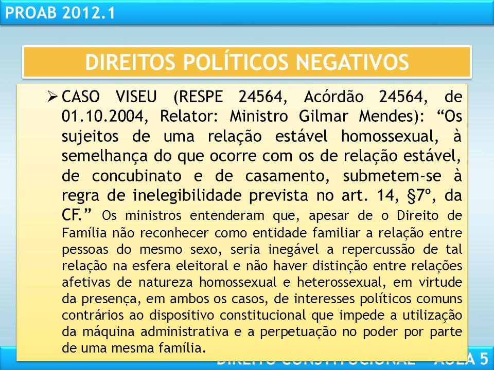 """RESPONSABILIDADE CIVIL AULA 1 PROAB 2012.1 DIREITO CONSTITUCIONAL – AULA 5  INELEGIBILIDADE REFLEXA (art. 14, §7º, CF)  Súmula 6 do TSE: """"É inelegív"""