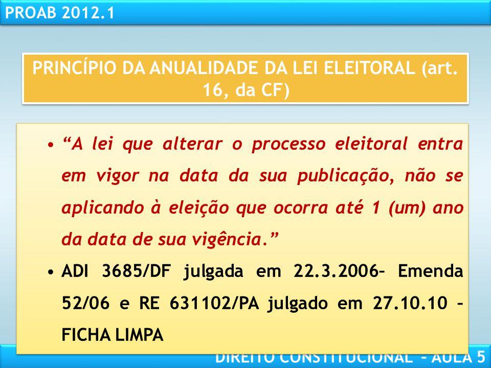 RESPONSABILIDADE CIVIL AULA 1 PROAB 2012.1 DIREITO CONSTITUCIONAL – AULA 5  INELEGIBILIDADE LEGAL (art. 14, §9º, CF e LC 64/90 com as alterações da L