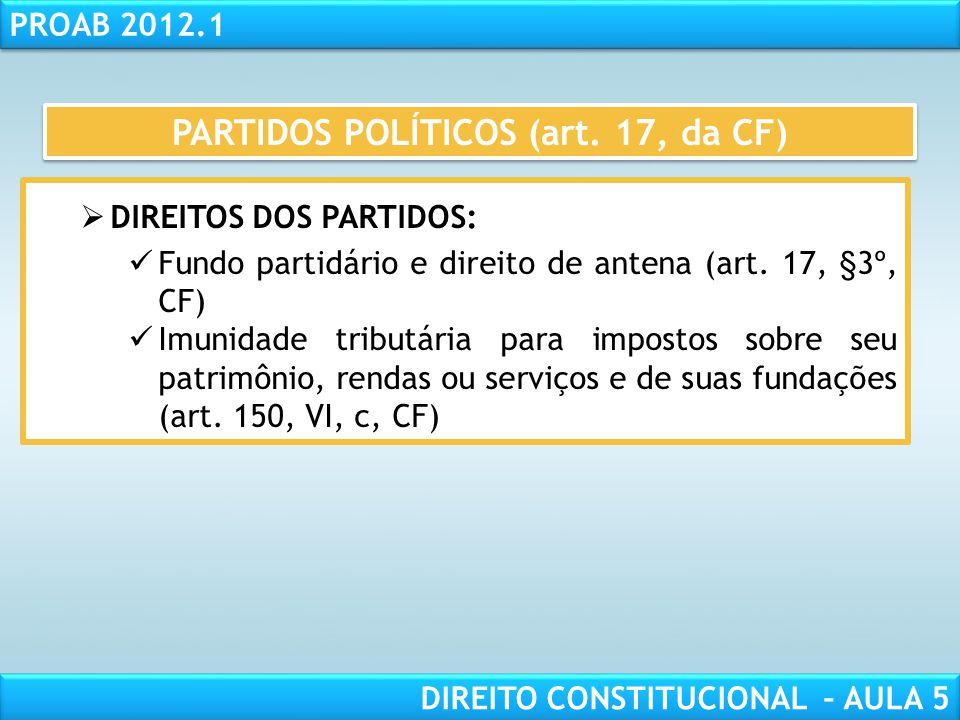 RESPONSABILIDADE CIVIL AULA 1 PROAB 2012.1 DIREITO CONSTITUCIONAL – AULA 5 PARTIDOS POLÍTICOS (art. 17, da CF)  PERSONALIDADE JURÍDICA (art. 17, § 2º