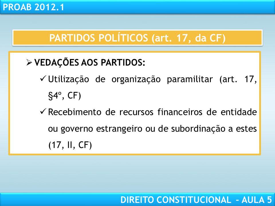 RESPONSABILIDADE CIVIL AULA 1 PROAB 2012.1 DIREITO CONSTITUCIONAL – AULA 5  DIREITOS DOS PARTIDOS:  Fundo partidário e direito de antena (art. 17, §