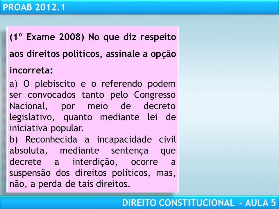 RESPONSABILIDADE CIVIL AULA 1 PROAB 2012.1 DIREITO CONSTITUCIONAL – AULA 5 QUESTÕES PARA COMENTAR