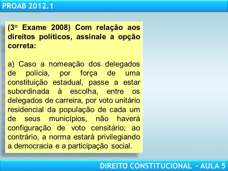 RESPONSABILIDADE CIVIL AULA 1 PROAB 2012.1 DIREITO CONSTITUCIONAL – AULA 5 c) se o governador e sua filha se candidatassem por partidos diferentes, po