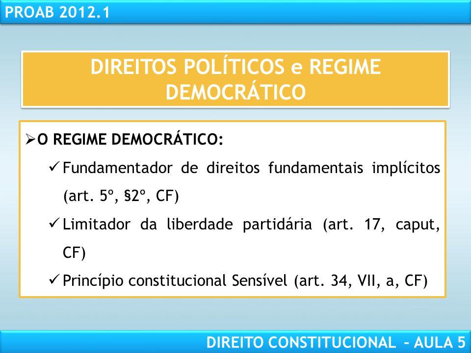 RESPONSABILIDADE CIVIL AULA 1 PROAB 2012.1 DIREITO CONSTITUCIONAL – AULA 5 DIREITOS POLÍTICOS e REGIME DEMOCRÁTICO  A CIDADANIA  LIBERDADE DOS ANTIG