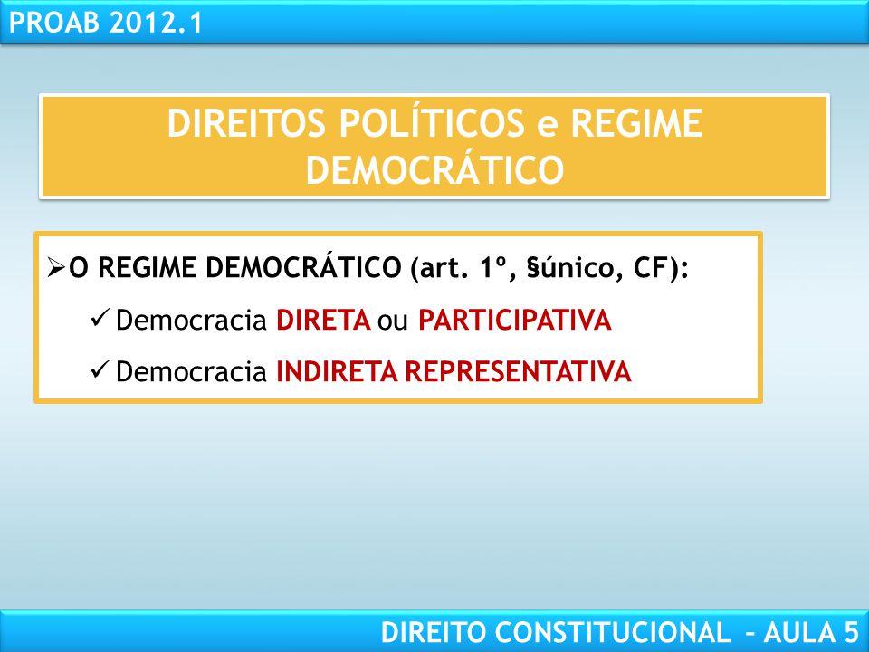 RESPONSABILIDADE CIVIL AULA 1 PROAB 2012.1 DIREITO CONSTITUCIONAL – AULA 5  O REGIME DEMOCRÁTICO:  Fundamentador de direitos fundamentais implícitos
