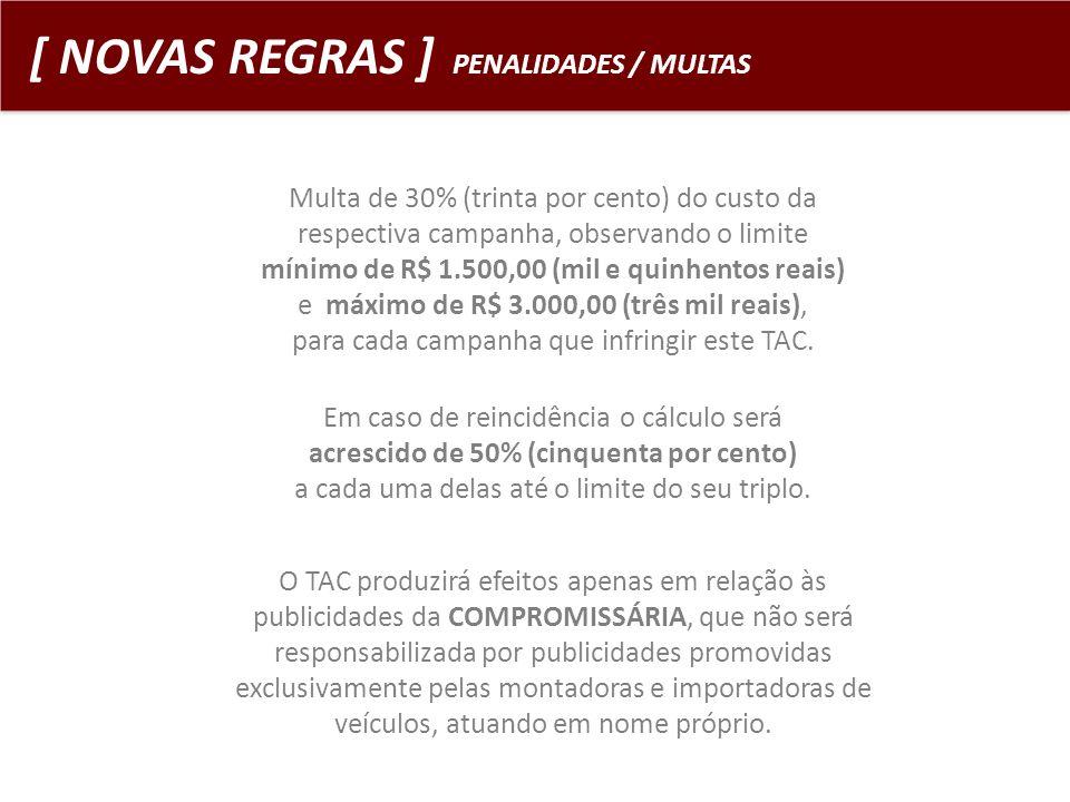 [ NOVAS REGRAS ] PENALIDADES / MULTAS Multa de 30% (trinta por cento) do custo da respectiva campanha, observando o limite mínimo de R$ 1.500,00 (mil