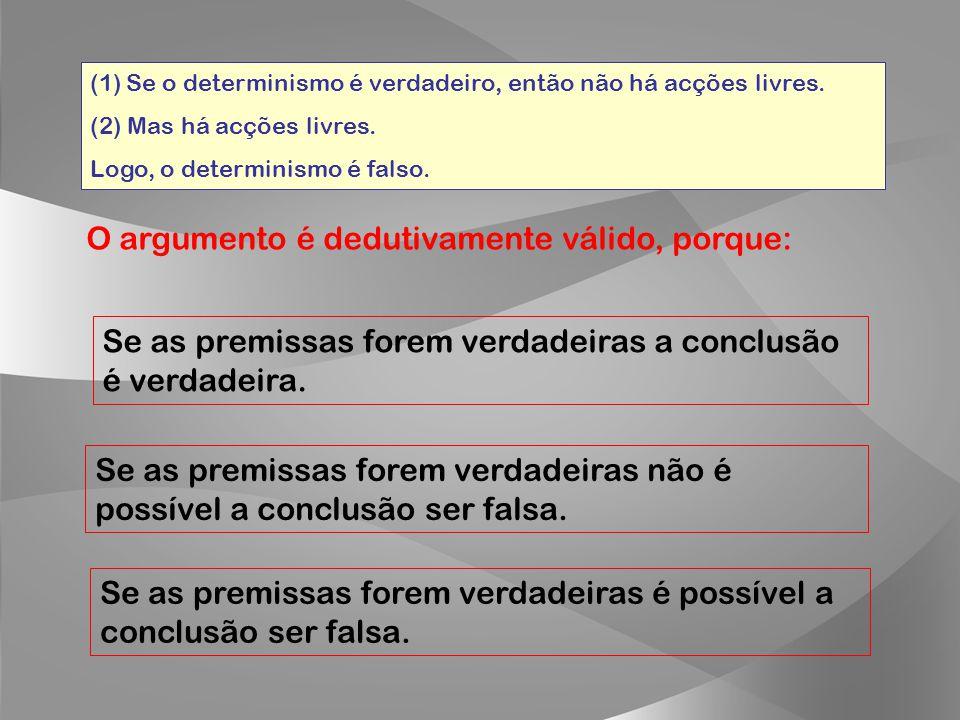 (1)SSe o determinismo é verdadeiro, então não há acções livres. (2) Mas há acções livres. Logo, o determinismo é falso. Este argumento é defendido pel