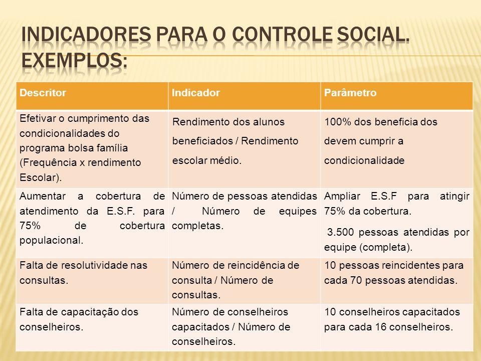 DescritorIndicadorParâmetro Efetivar o cumprimento das condicionalidades do programa bolsa família (Frequência x rendimento Escolar). Rendimento dos a