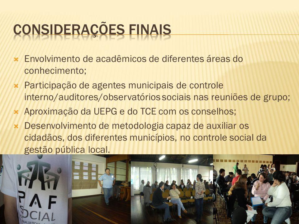  Envolvimento de acadêmicos de diferentes áreas do conhecimento;  Participação de agentes municipais de controle interno/auditores/observatórios soc