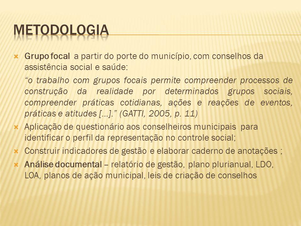 """ Grupo focal a partir do porte do município, com conselhos da assistência social e saúde: """"o trabalho com grupos focais permite compreender processos"""