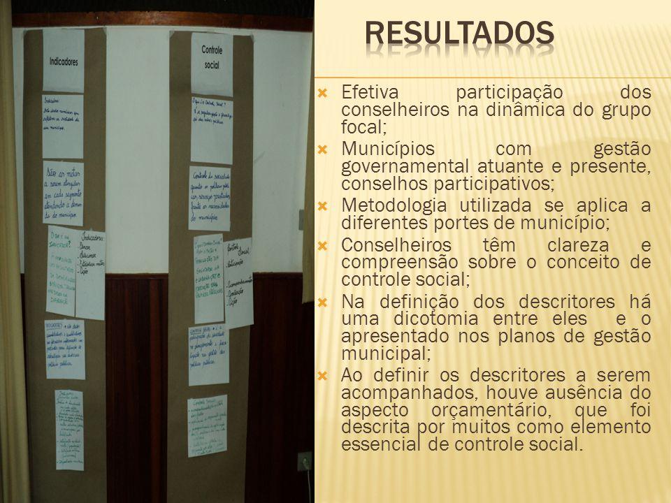  Efetiva participação dos conselheiros na dinâmica do grupo focal;  Municípios com gestão governamental atuante e presente, conselhos participativos