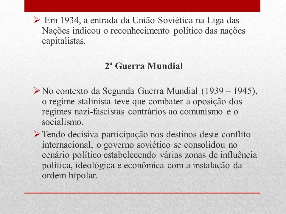  Em 1934, a entrada da União Soviética na Liga das Nações indicou o reconhecimento político das nações capitalistas. 2ª Guerra Mundial  No contexto