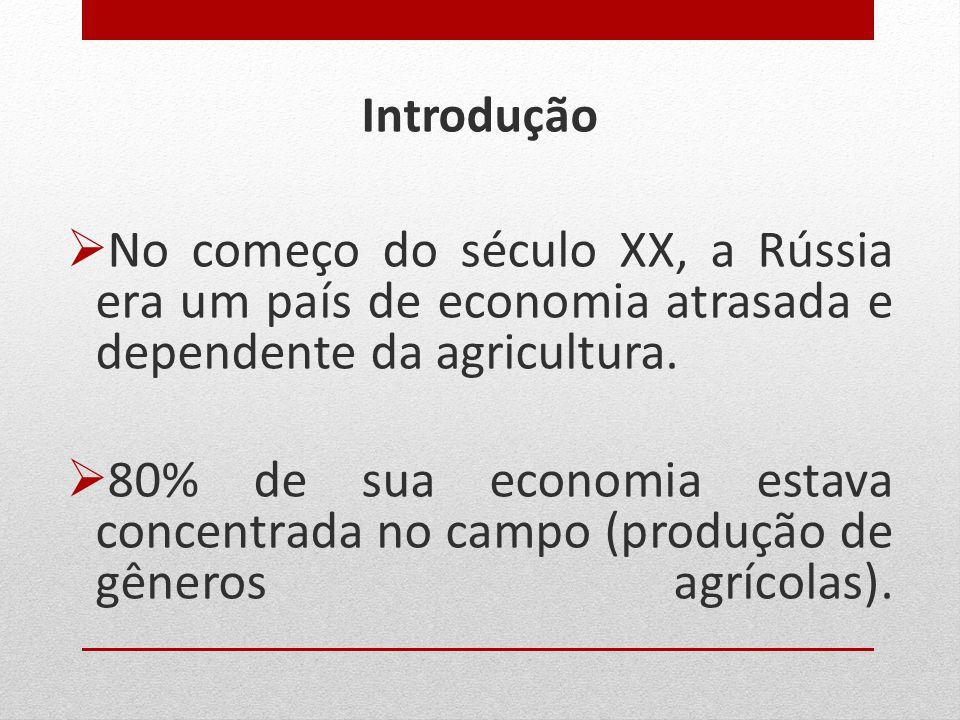 Introdução  No começo do século XX, a Rússia era um país de economia atrasada e dependente da agricultura.  80% de sua economia estava concentrada n