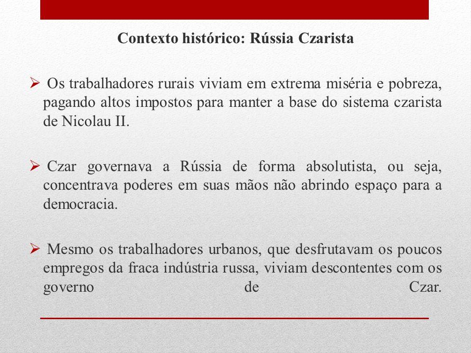Contexto histórico: Rússia Czarista  Os trabalhadores rurais viviam em extrema miséria e pobreza, pagando altos impostos para manter a base do sistem