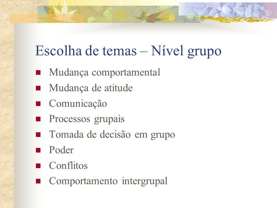 Escolha de temas – Nível grupo  Mudança comportamental  Mudança de atitude  Comunicação  Processos grupais  Tomada de decisão em grupo  Poder  Conflitos  Comportamento intergrupal