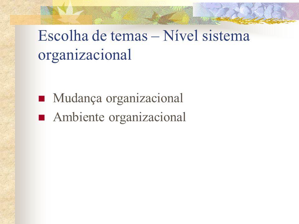 Escolha de temas – Nível sistema organizacional  Mudança organizacional  Ambiente organizacional