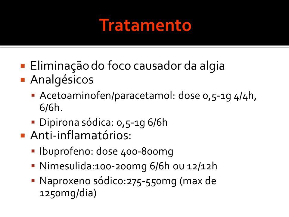  Eliminação do foco causador da algia  Analgésicos  Acetoaminofen/paracetamol: dose 0,5-1g 4/4h, 6/6h.
