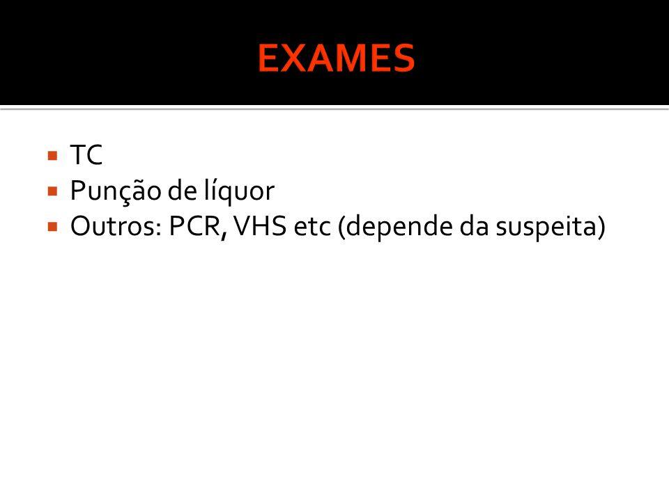  TC  Punção de líquor  Outros: PCR, VHS etc (depende da suspeita)