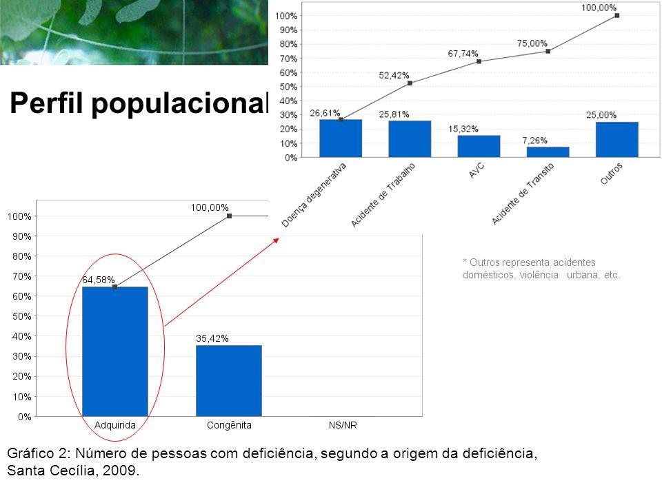 Perfil populacional Gráfico 2: Número de pessoas com deficiência, segundo a origem da deficiência, Santa Cecília, 2009. * Outros representa acidentes