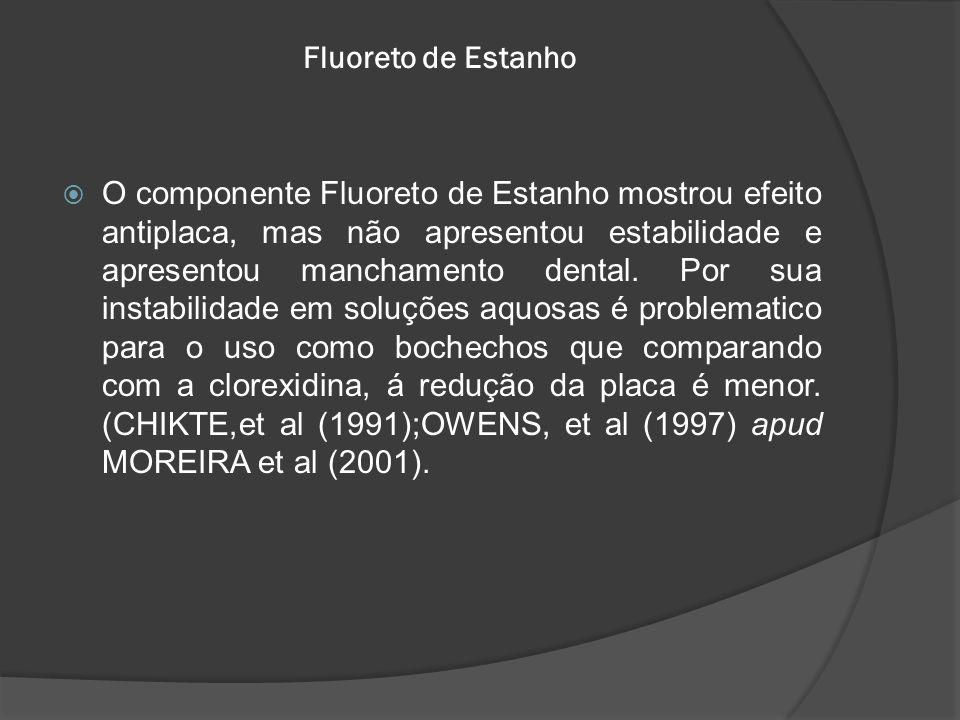Fluoreto de Estanho  O componente Fluoreto de Estanho mostrou efeito antiplaca, mas não apresentou estabilidade e apresentou manchamento dental. Por