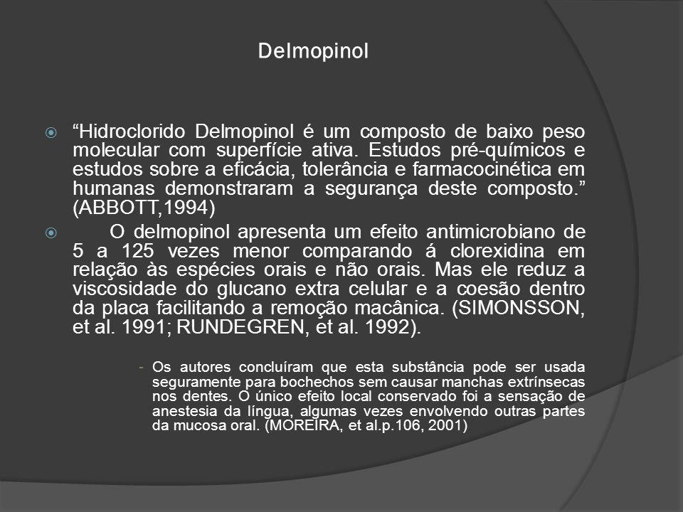 """Delmopinol  """"Hidroclorido Delmopinol é um composto de baixo peso molecular com superfície ativa. Estudos pré-químicos e estudos sobre a eficácia, tol"""