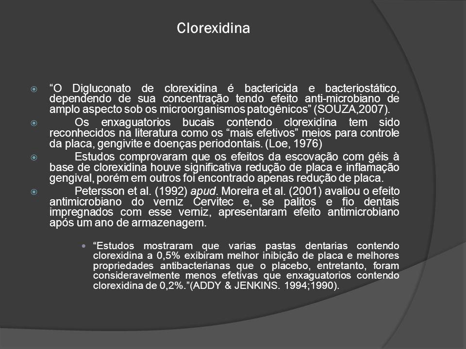 """Clorexidina  """"O Digluconato de clorexidina é bactericida e bacteriostático, dependendo de sua concentração tendo efeito anti-microbiano de amplo aspe"""