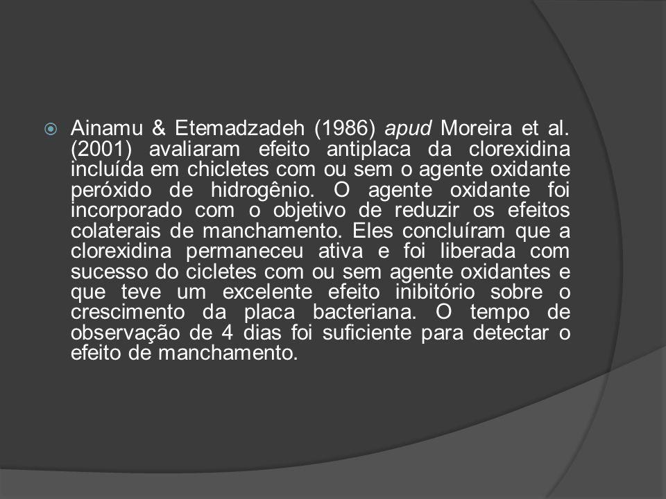  Ainamu & Etemadzadeh (1986) apud Moreira et al. (2001) avaliaram efeito antiplaca da clorexidina incluída em chicletes com ou sem o agente oxidante