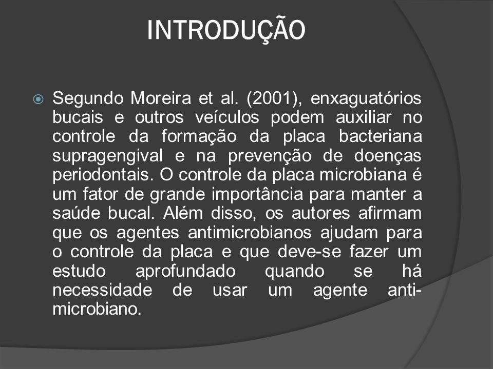 INTRODUÇÃO  Segundo Moreira et al. (2001), enxaguatórios bucais e outros veículos podem auxiliar no controle da formação da placa bacteriana supragen