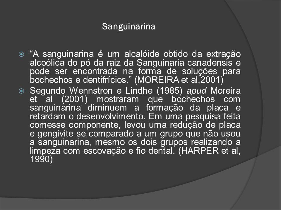 """Sanguinarina  """"A sanguinarina é um alcalóide obtido da extração alcoólica do pó da raiz da Sanguinaria canadensis e pode ser encontrada na forma de s"""