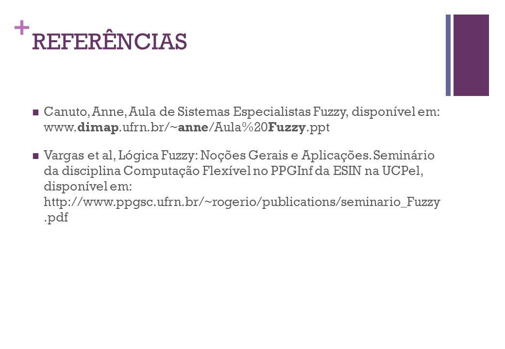 + REFERÊNCIAS  Canuto, Anne, Aula de Sistemas Especialistas Fuzzy, disponível em: www.dimap.ufrn.br/~anne/Aula%20Fuzzy.ppt   Vargas et al, Lógica Fuzzy: Noções Gerais e Aplicações.