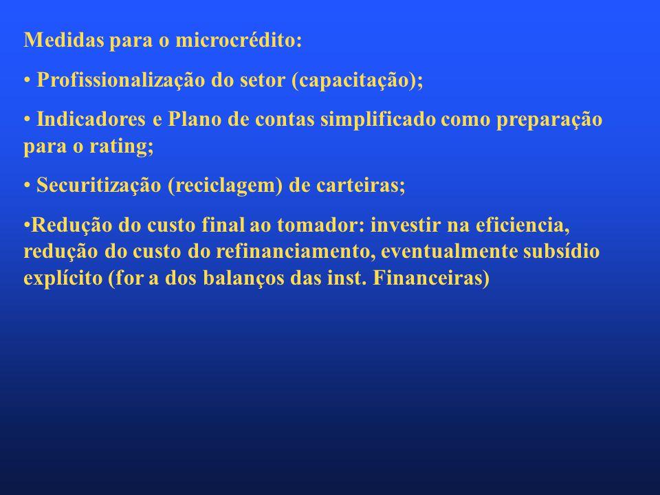 Medidas para o microcrédito: • Profissionalização do setor (capacitação); • Indicadores e Plano de contas simplificado como preparação para o rating; • Securitização (reciclagem) de carteiras; •Redução do custo final ao tomador: investir na eficiencia, redução do custo do refinanciamento, eventualmente subsídio explícito (for a dos balanços das inst.