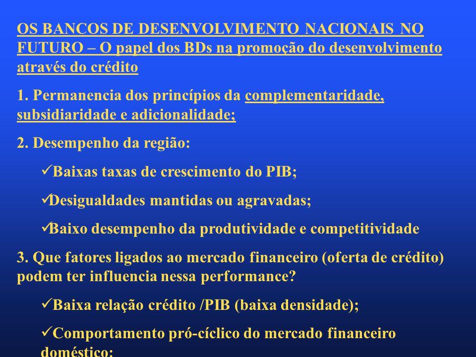 OS BANCOS DE DESENVOLVIMENTO NACIONAIS NO FUTURO – O papel dos BDs na promoção do desenvolvimento através do crédito 1.