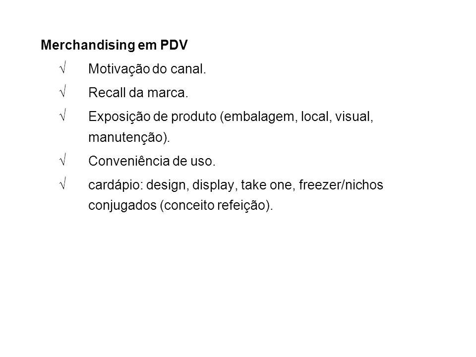 Merchandising em PDV √Motivação do canal. √Recall da marca. √Exposição de produto (embalagem, local, visual, manutenção). √Conveniência de uso. √cardá