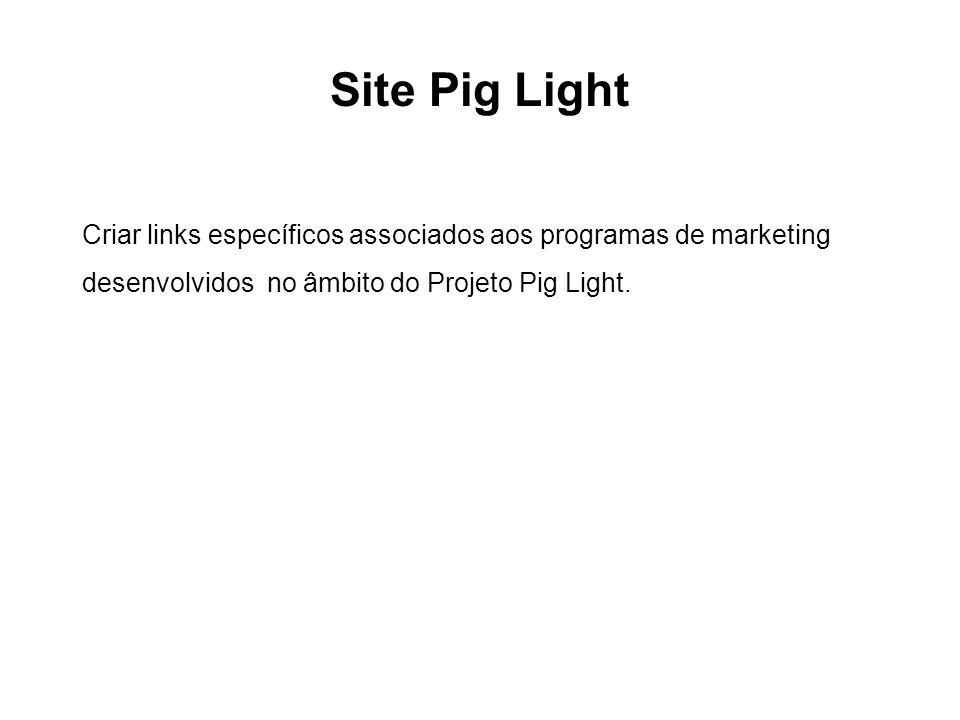 Site Pig Light Criar links específicos associados aos programas de marketing desenvolvidos no âmbito do Projeto Pig Light.