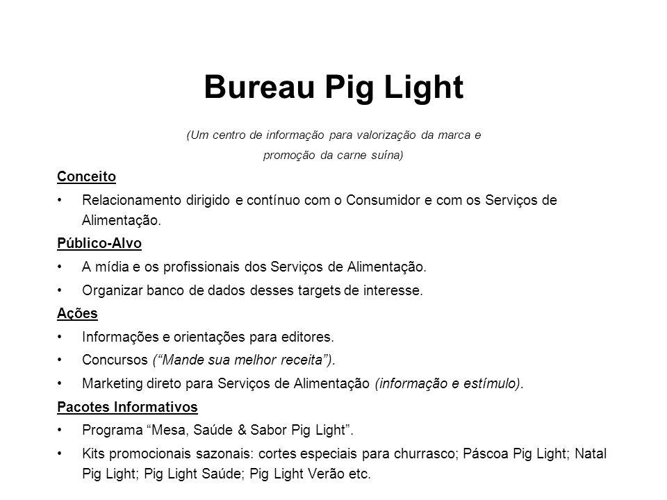 Bureau Pig Light (Um centro de informação para valorização da marca e promoção da carne suína) Conceito •Relacionamento dirigido e contínuo com o Cons