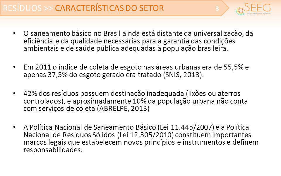 • O saneamento básico no Brasil ainda está distante da universalização, da eficiência e da qualidade necessárias para a garantia das condições ambient