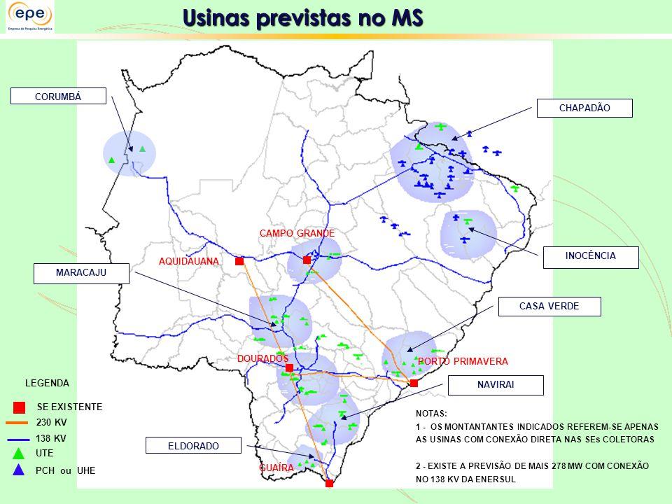 Usinas previstas no MS LEGENDA SE EXISTENTE CAMPO GRANDE DOURADOS 230 KV 138 KV UTE PCH ou UHE NOTAS: 1 - OS MONTANTANTES INDICADOS REFEREM-SE APENAS AS USINAS COM CONEXÃO DIRETA NAS SEs COLETORAS 2 - EXISTE A PREVISÃO DE MAIS 278 MW COM CONEXÃO NO 138 KV DA ENERSUL AQUIDAUANA PORTO PRIMAVERA GUAÍRA CORUMBÁ CHAPADÃO INOCÊNCIA CASA VERDE NAVIRAI ELDORADO MARACAJU