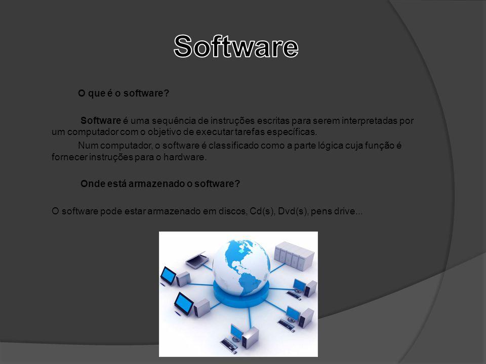 O que é o software? Software é uma sequência de instruções escritas para serem interpretadas por um computador com o objetivo de executar tarefas espe