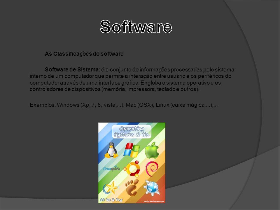 As Classificações do software Software de Sistema: é o conjunto de informações processadas pelo sistema interno de um computador que permite a interaç