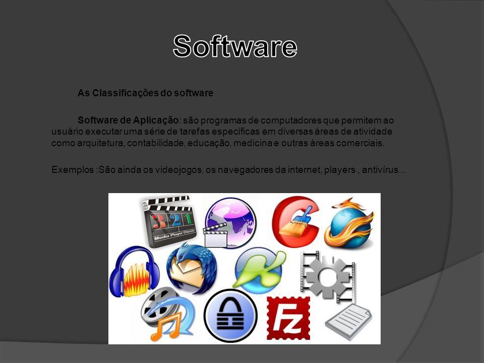 As Classificações do software Software de Aplicação: são programas de computadores que permitem ao usuário executar uma série de tarefas específicas e