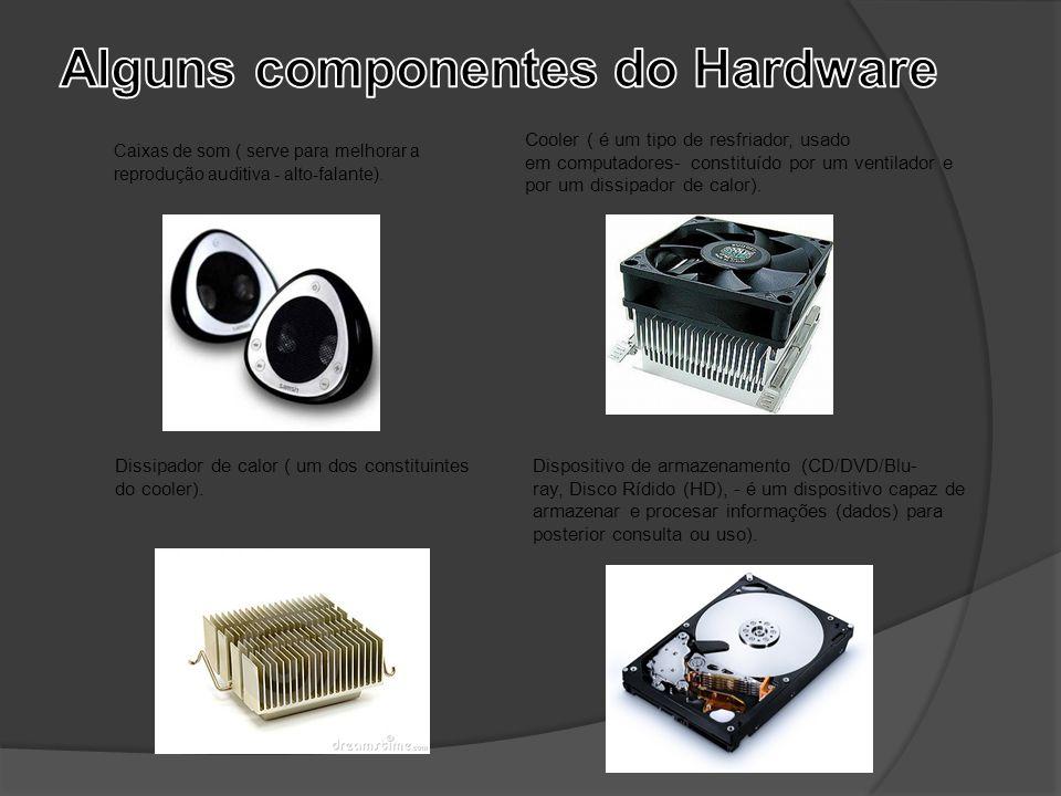 Caixas de som ( serve para melhorar a reprodução auditiva - alto-falante). Cooler ( é um tipo de resfriador, usado em computadores- constituído por um