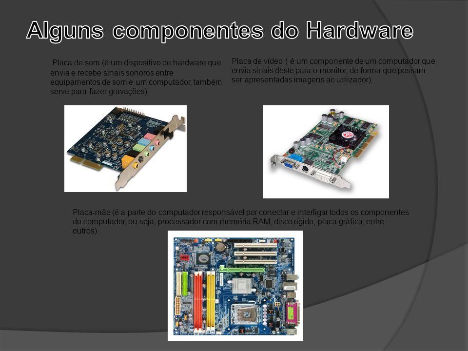 Placa de som (é um dispositivo de hardware que envia e recebe sinais sonoros entre equipamentos de som e um computador, também serve para fazer gravaç