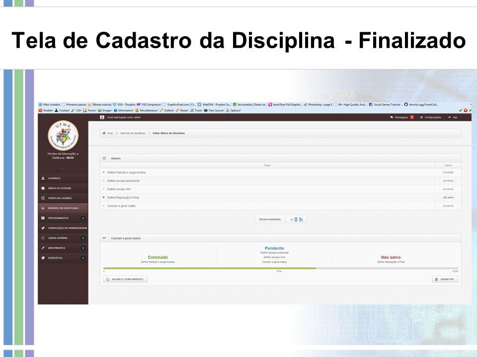 Tela de Cadastro da Disciplina - Finalizado