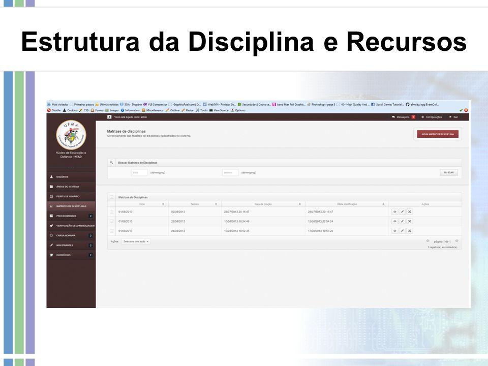 Estrutura da Disciplina e Recursos