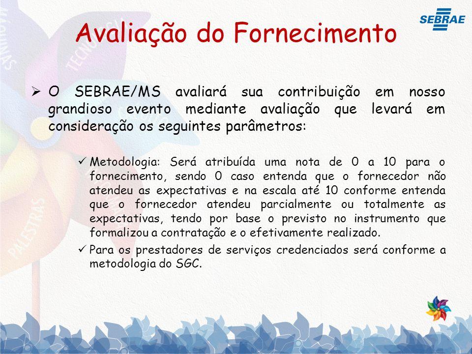 Avaliação do Fornecimento ASPECTOS DA AVALIAÇÃOPESO (A) NOTA (B) (0 a 10) TOTAL (C) (A x B) a.