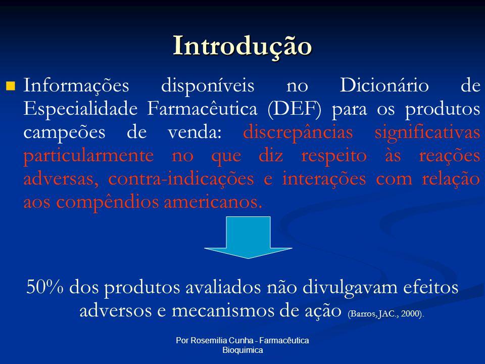 Por Rosemilia Cunha - Farmacêutica Bioquimica Introdução   Informações disponíveis no Dicionário de Especialidade Farmacêutica (DEF) para os produtos campeões de venda: discrepâncias significativas particularmente no que diz respeito às reações adversas, contra-indicações e interações com relação aos compêndios americanos.